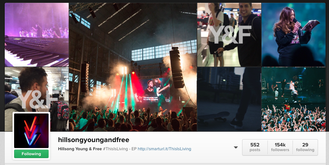 youth ministry instagram account young and free