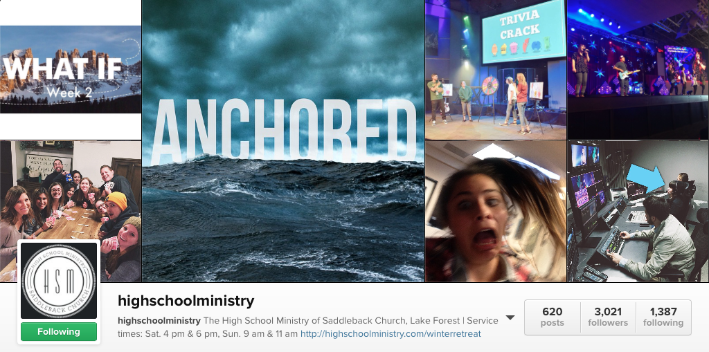 youth ministry instagram accounts