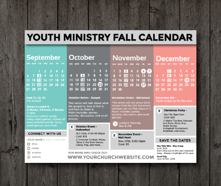 Freebie clean fall 2015 calendar youth ministry media for Youth group calendar template